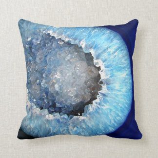 Falln Blue Crystal Geode Throw Pillow