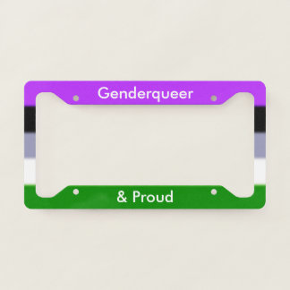 Falln Genderqueer and Proud Licence Plate Frame