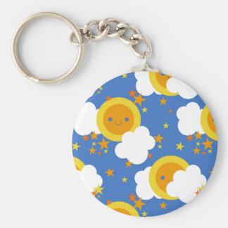 Falln Kawaii Moon, Stars, Sunshine Basic Round Button Key Ring