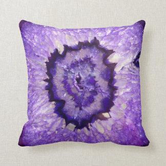 Falln Purple Agate Geode Throw Pillow