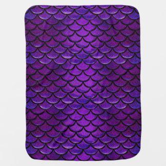 Falln Purple & Blue Mermaid Scales Baby Blanket