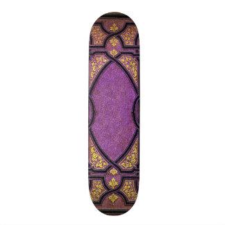 Falln Purple & Gold Vines Book Cover 20.6 Cm Skateboard Deck
