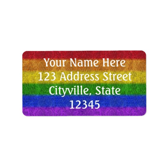 Falln Rainbow Glitter Gradient Address Label