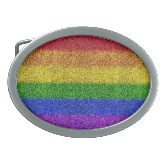 Falln Rainbow Glitter Gradient Oval Belt Buckle