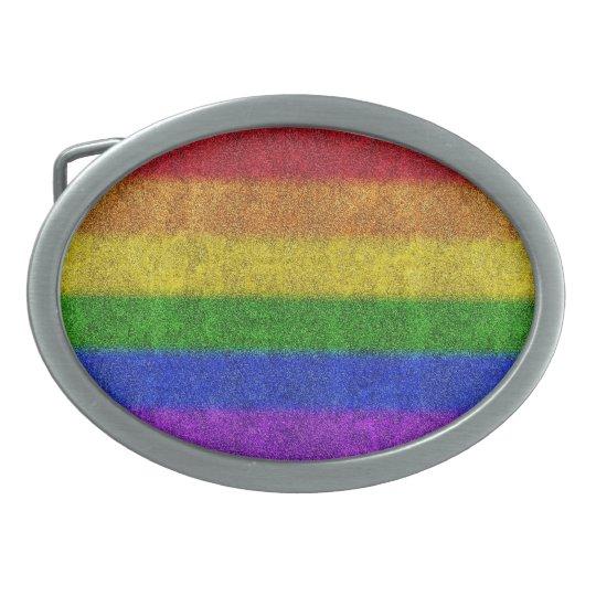 Falln Rainbow Glitter Gradient Oval Belt Buckle