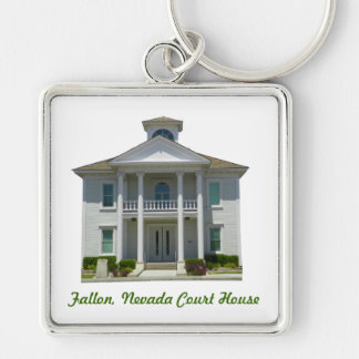 Fallon, Nevada Court House Silver-Colored Square Key Ring