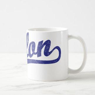 Fallon script logo in blue classic white coffee mug