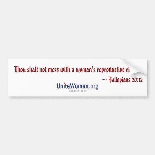 Fallopians 20:12 (white) bumper sticker
