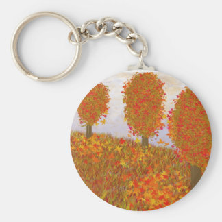 Falls Trees Basic Round Button Key Ring