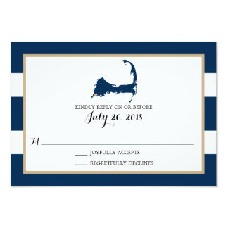 Falmouth Cape Cod with heart | Wedding RSVP 9 Cm X 13 Cm Invitation Card