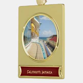 Falmouth Jamaica Dockside Custom Gold Plated Banner Ornament