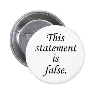 False Statement Paradox 6 Cm Round Badge