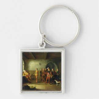 Falstaff and the Recruits, from 'Henry IV, Part II Silver-Colored Square Key Ring