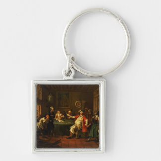 Falstaff Examining his Recruits from Henry IV Silver-Colored Square Key Ring