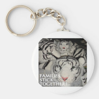 FAMILIES STICK TOGETHER TIGERS BASIC ROUND BUTTON KEY RING