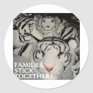 FAMILIES STICK TOGETHER TIGERS ROUND STICKER
