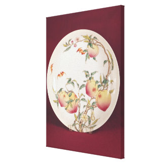 Famille rose plate decorated stretched canvas prints