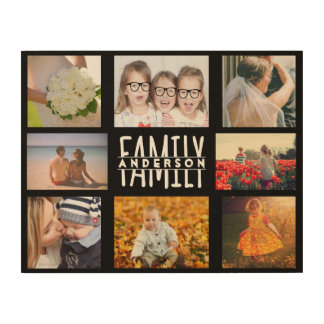 Family 8 Photo Collage Template Add Custom Name V2 Wood Wall Art