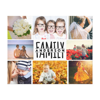 Family 8 Photo Collage Template Plus Add Name V1 Canvas Print