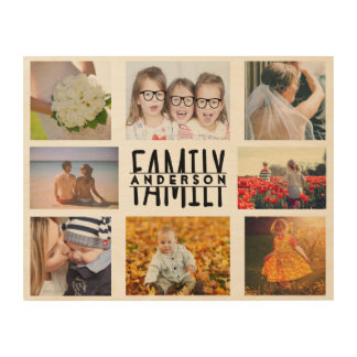 Family 8 Photo Collage Template Plus Add Name V1 Wood Wall Art