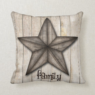 Family, Americana Star, Wood Background Pillow
