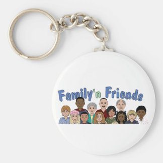 family and friends basic round button key ring