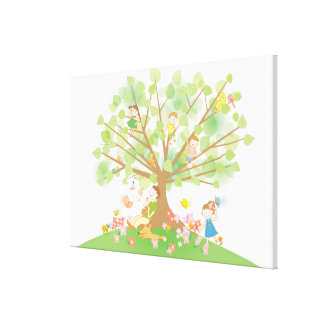 Family and Tree Canvas Print