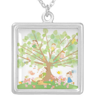 Family and Tree Silver Plated Necklace
