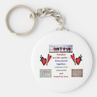 Family - Are Like Quilts Basic Round Button Key Ring