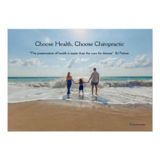 Family at beach Chiropractic poster