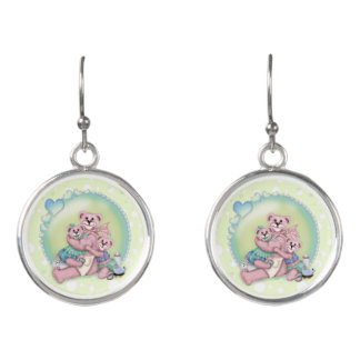FAMILY BEAR CARTOON Drop Earrings