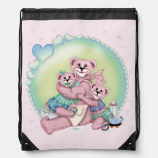 FAMILY BEAR LOVE CARTOON Drawstring Backpack