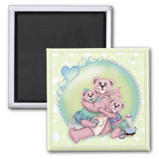 FAMILY BEAR LOVE Square Magnet