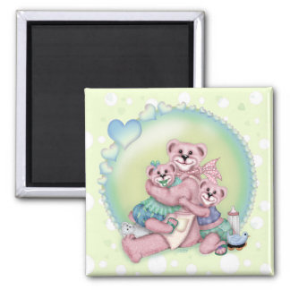 FAMILY BEAR LOVE Square Magnet 2 Inch