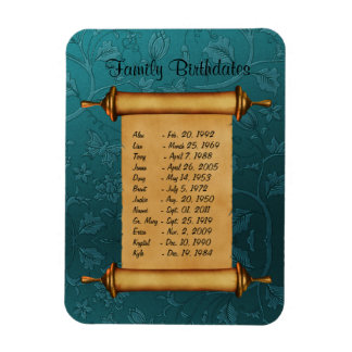 Family Birthdate Reminder Rectangular Photo Magnet