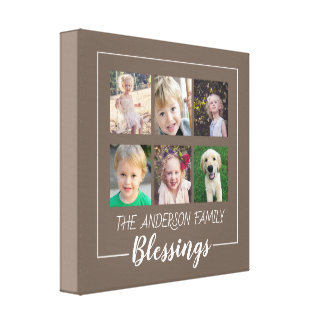 Family Blessings | 6 Photo Collage on Brown Canvas Print