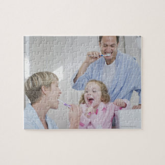Family brushing teeth together jigsaw puzzle