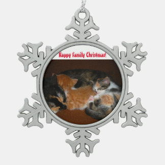 Family cats snowflake pewter christmas ornament
