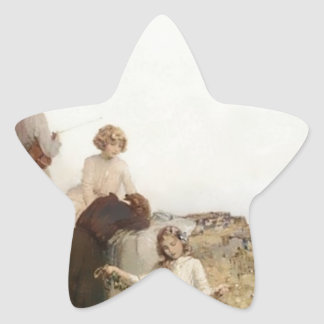 Family Children Nature Painting Star Stickers