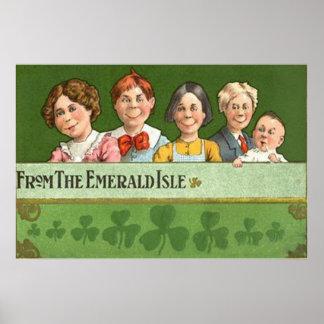 Family Children Shamrock Emerald Isle Poster