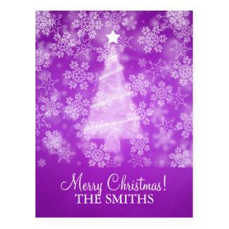Family Christmas Falling Snowflakes Purple Postcard