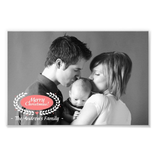 Family Christmas Greeting in Black and White Photo Print