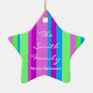 Family Christmas in green and purple Christmas Ornament