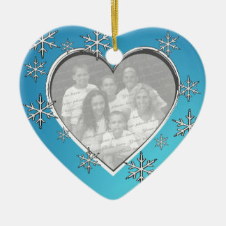 Family Christmas Photo Ceramic Heart Decoration