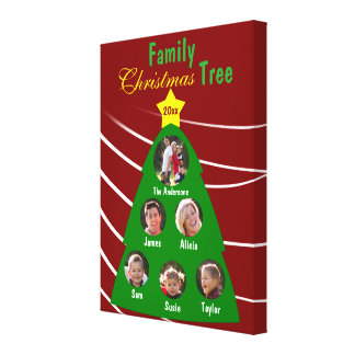 Family Christmas Tree Keepsake Custom Photo Canvas Canvas Print