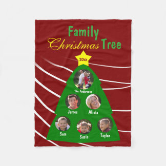 Family Christmas Tree Keepsake Custom Photo Fleece Blanket