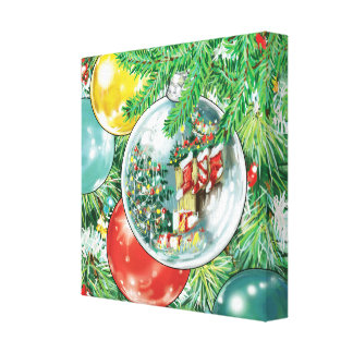 Family Christmas Tree Reflection Painting Gallery Wrapped Canvas