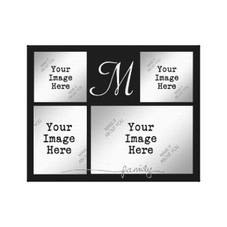 Family Collage-Silver (choose background color) Canvas Print