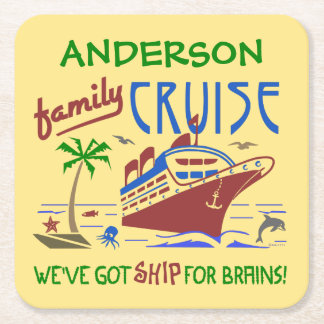 Family Cruise Vacation Funny Ship   Custom Name Square Paper Coaster