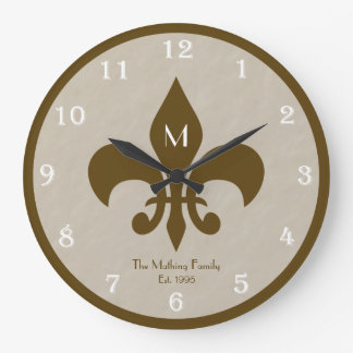 Family Customized Fleur De Lis Wall Clock